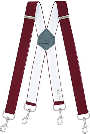 Xeira - Tirantes para hombre (extra largos, con 4 mosquetones) burdeos 120: Amazon.es: Ropa y accesorios