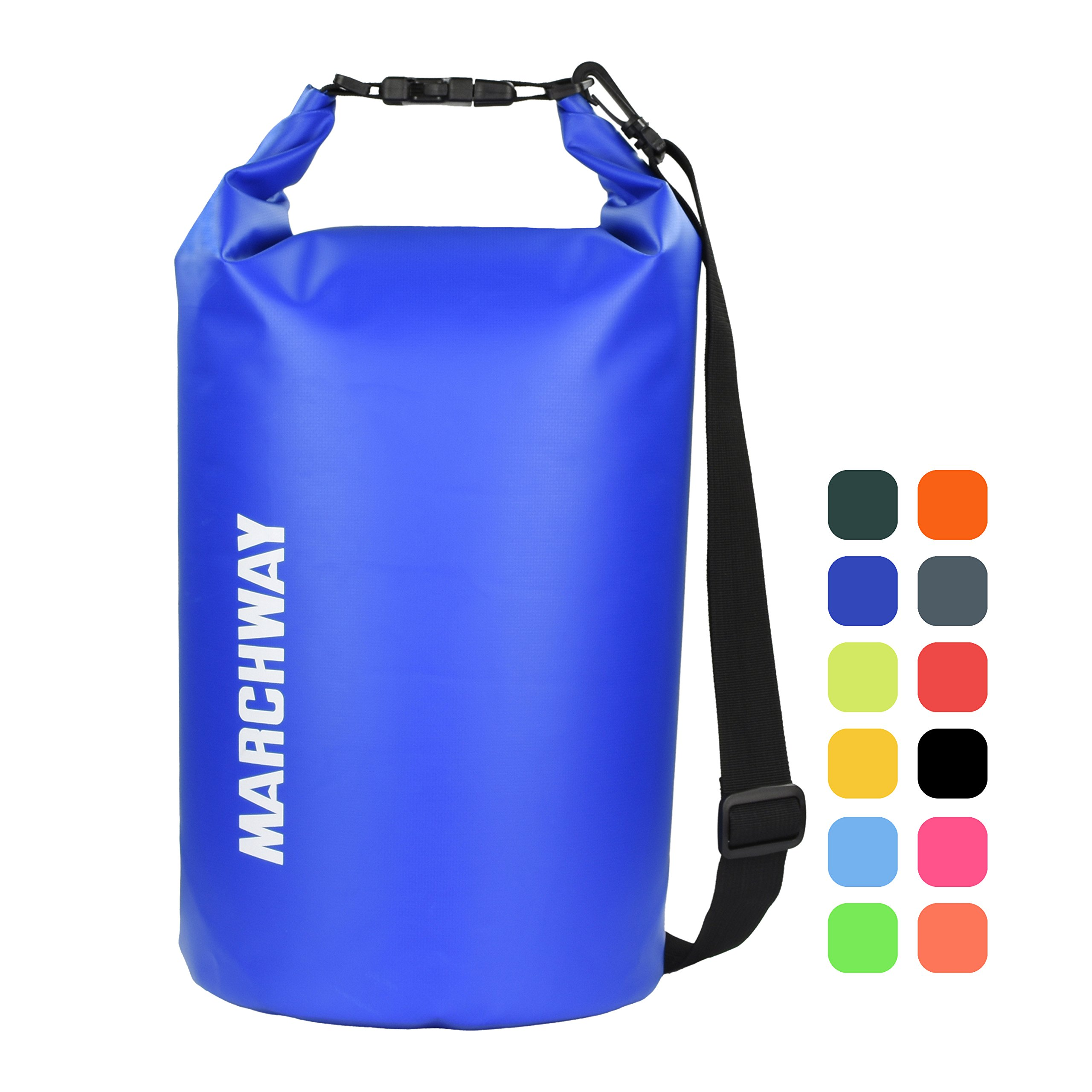 Floating Waterproof Dry Bag Backpack 5L/10L/20L/30L/40L, Roll Top Dry Sack Pack for Kayaking Rafting Boating Surfing Swimming Camping Hiking Beach Fishing Skiing Snowboarding Sailing (Dark Blue, 10L) by MARCHWAY