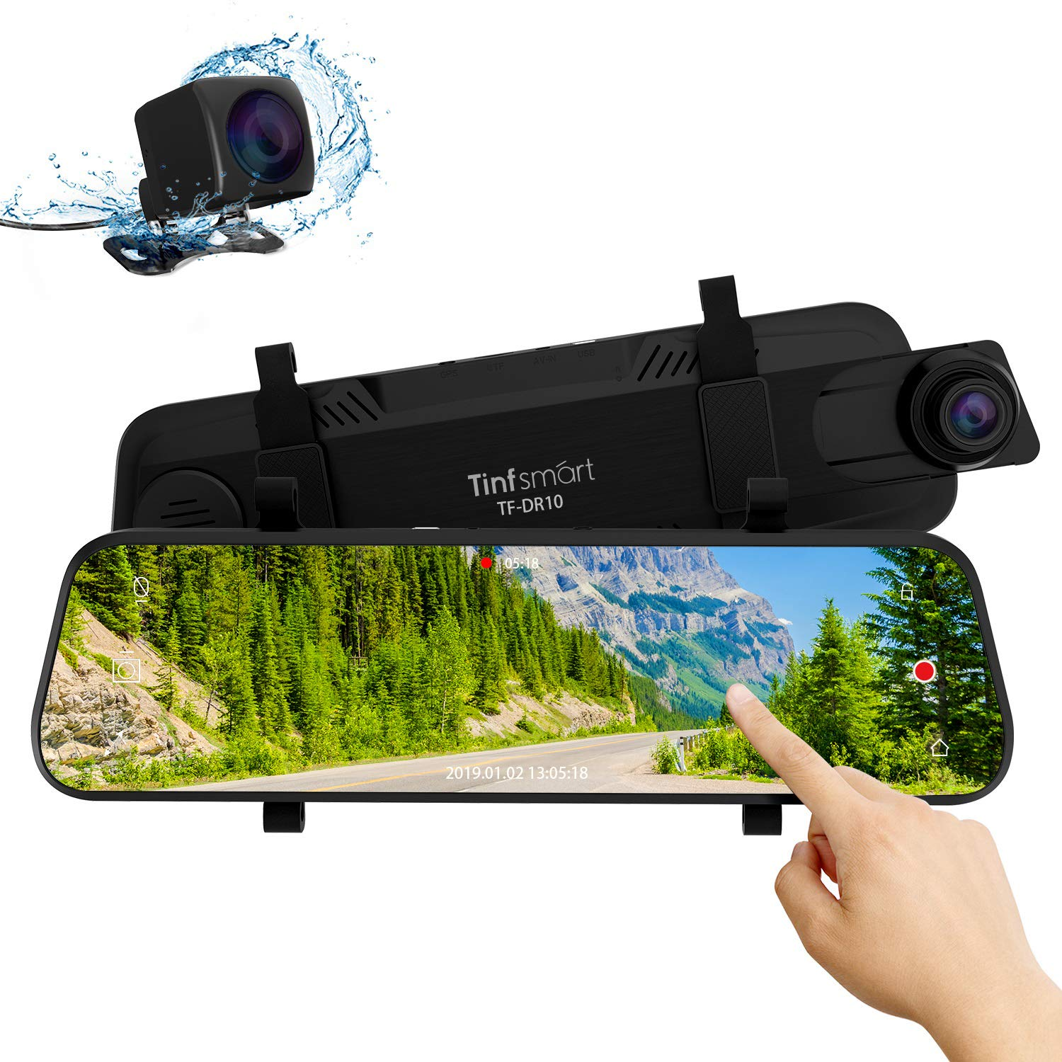 "B07PB8QJX3 Mirror Dual Dash Cam【Updated Version】 - Tinfsmart 10"" Full HD Touch Screen Backup Dash Camera for Car Dual Len 170° 1080P Front & 150° 1080P Rear View Night Version Loop Recording Parking Monitor 81zMIgCp3xL._SL1500_"