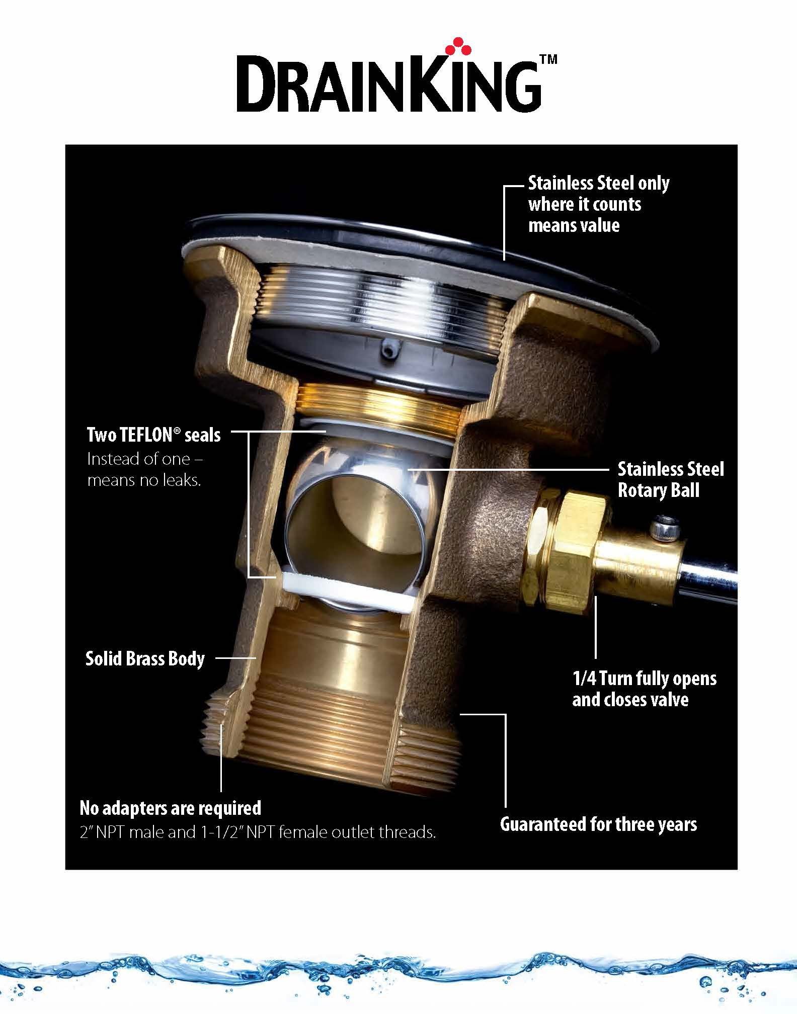 Fisher 22209 DrainKing Waste Valve, with Flat Strainer, 12 GPM Drain Rate by Fisher (Image #2)