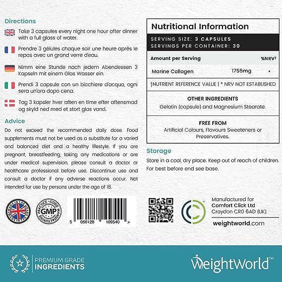 Colageno Marino Puro - 1755mg Por Servicio - 100% Colageno Marino Natural Hidrolizado - Reduce Signos De Edad Y Envejecimiento - Beneficioso Para Huesos, ...