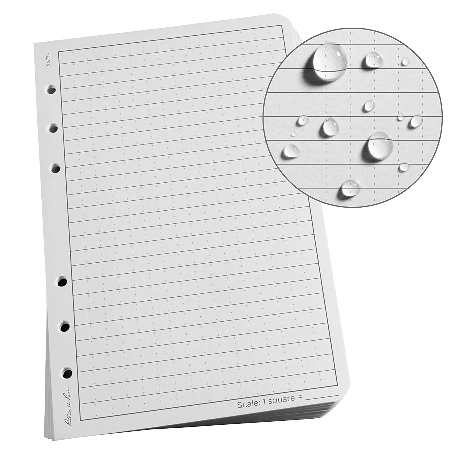 Rite in the Rain All-Weather Loose Leaf Paper, 4 5/8' x 7', 32# Gray, Universal Pattern, 100 Sheet Pack (No. 772)