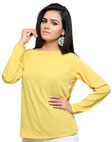 b86bf7e2701979 Serein Women s Crepe Top (Mustard Crepe top with Full Sleeves and Back tie  up)
