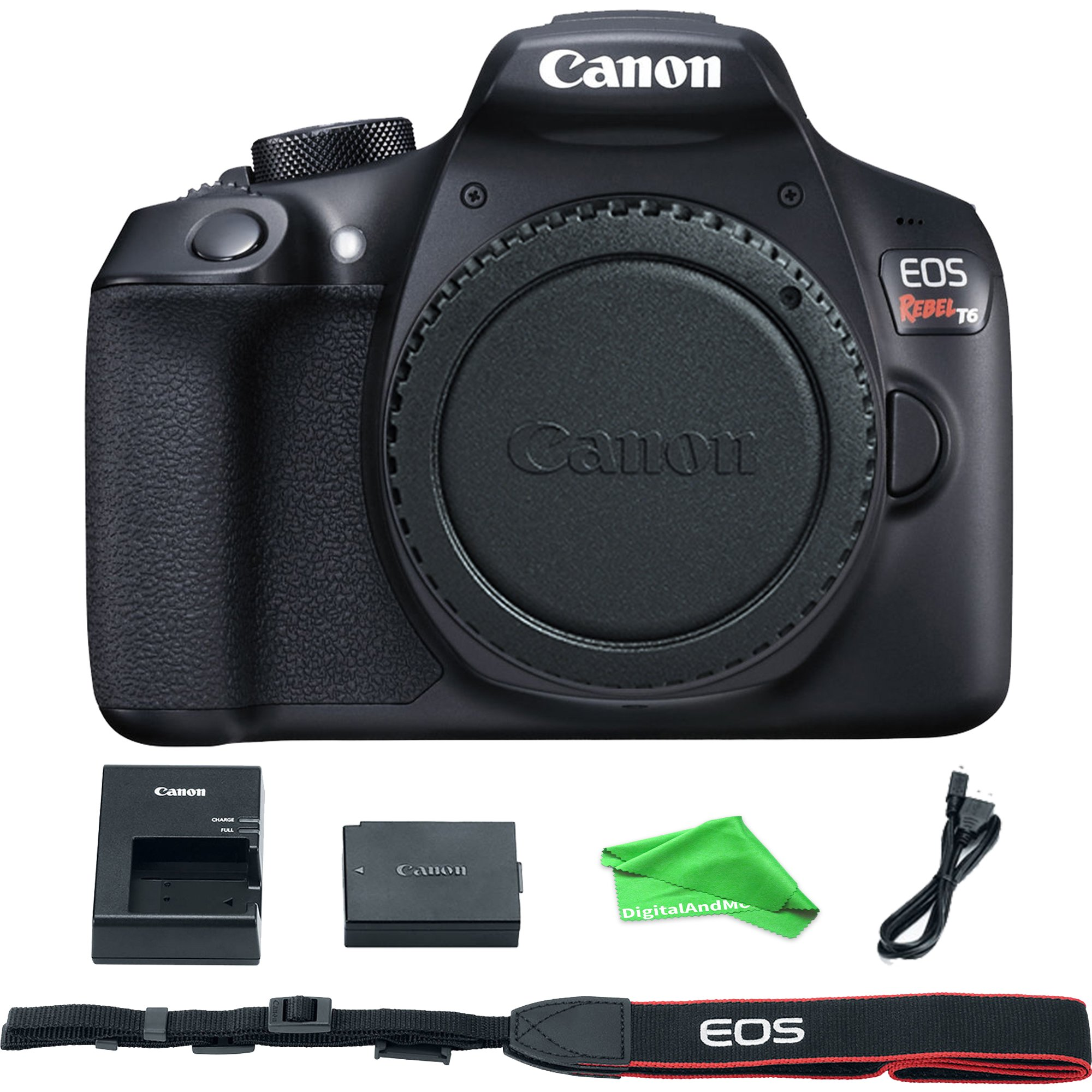 Canon EOS Rebel T6 Digital SLR Camera Body + DigitalAndMore Cloth (Body, Basic Bundle)