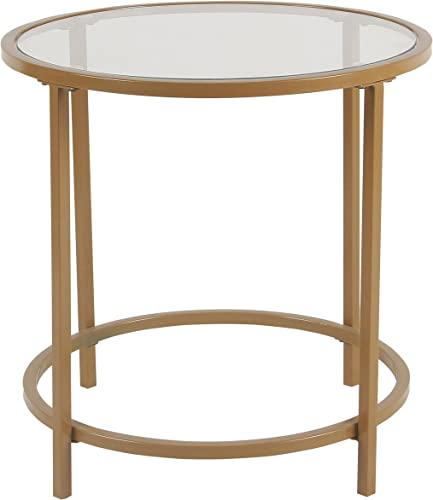 Spatial Order Round Metal Accent Table Glass Top