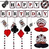 11 Pieces Casino Birthday Party Decorations Set, Includes Poker Happy Birthday Banner, 6 Casino Honeycomb, 4 Poker Card Hangi