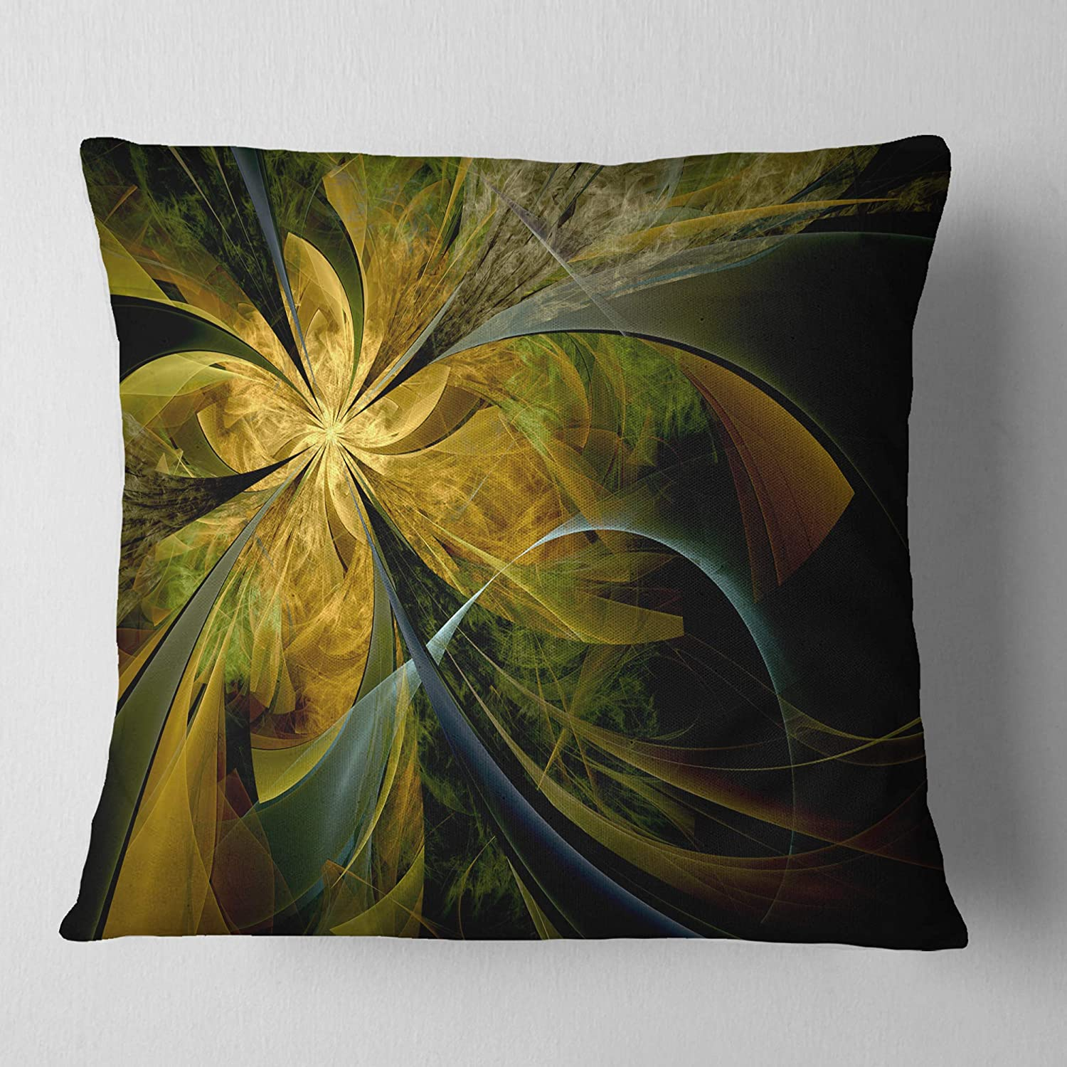 Designart CU11996-26-26 Symmetrical Fractal Flower in Gold Floral Cushion Cover for Living Room x 26 in Insert Printed On Both Side in Sofa Throw Pillow 26 in