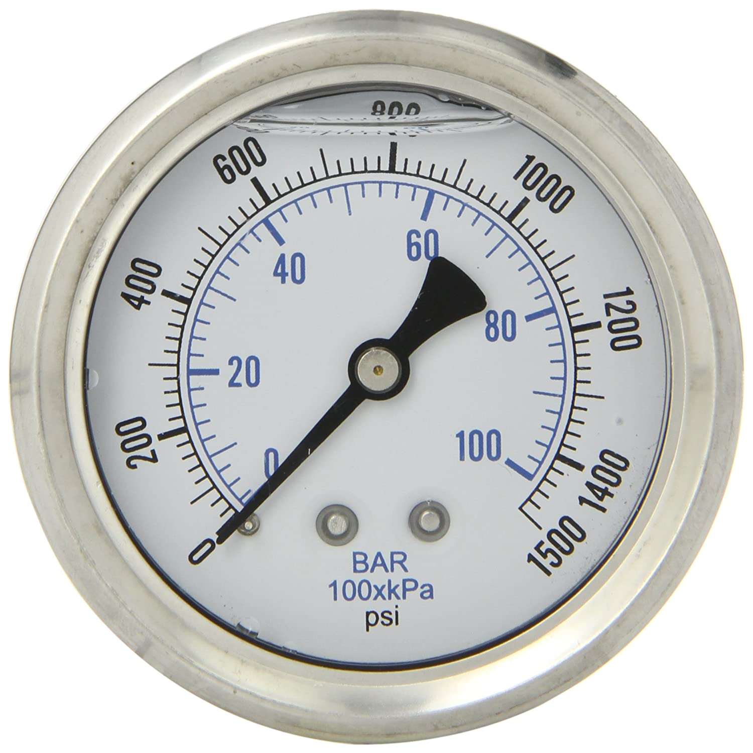 PIC Gauge PRO 202L 254N Glycerin Filled Industrial Center Back Mount Pressure Gauge with Stainless Steel Case Brass Internals Plastic Lens 2 1 2 Dial Size 1 4 Male NPT 0 1500 psi