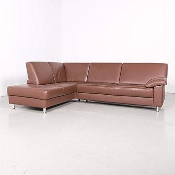 Ewald Schillig Designer Leder Ecksofa Braun Echtleder Sofa Couch