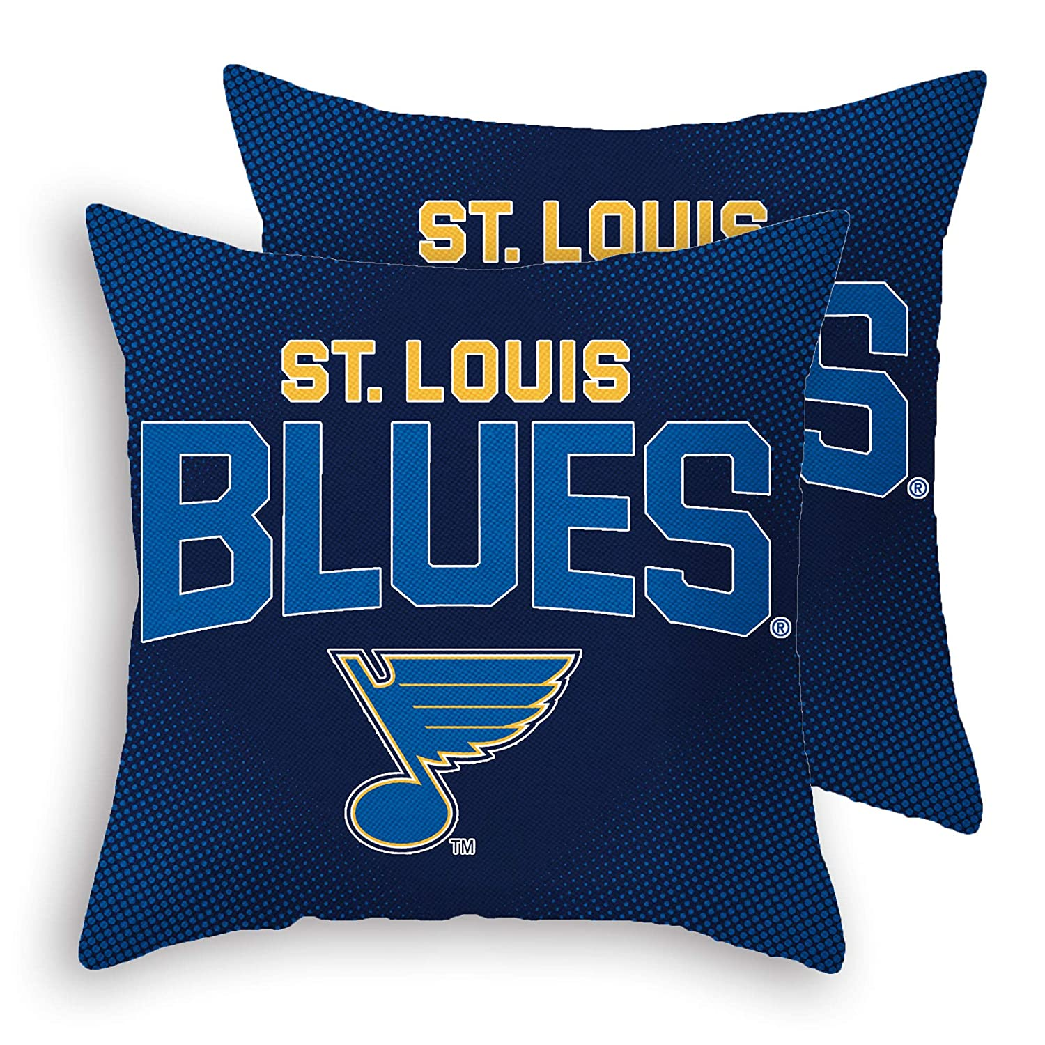 "Blues2019 Stanley-Cup Throw Pillow Covers Pillow Cases Standard Set Pack of 2 Cotton Linen Zippered Pillowcase for Car 18"" x 18"" (Blues 3)"