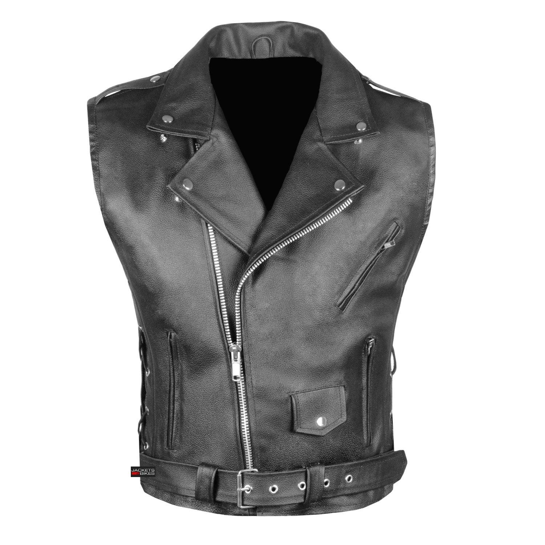 Mens Classic Leather Motorcycle Biker Concealed Carry Side Laces Vest Black 3XL