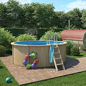 Piscina de madera de Isidor, piscina Claas con pared de acero con ...