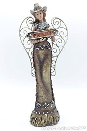 Western Cowgirl Angel w Friend Sign Figurine Statue Hand Painted Rustic Life-Like Detailed Home Office Decoration