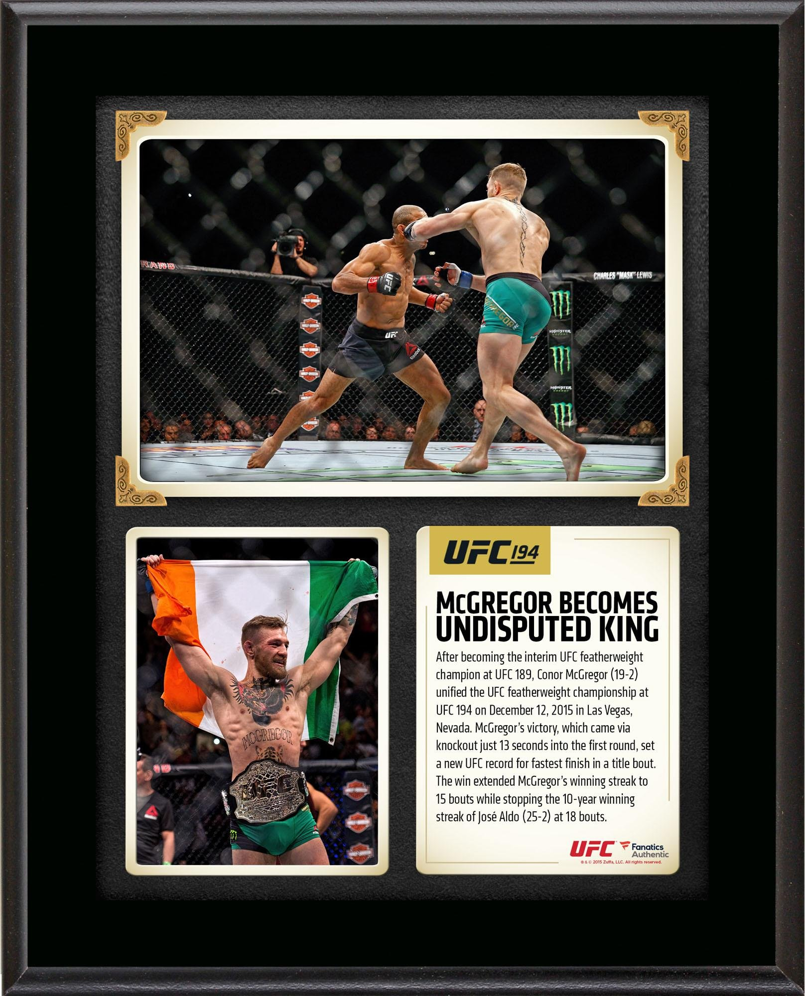 "Conor McGregor Ultimate Fighting Championship 10.5"" x 13"" UFC 194 Undisputed Featherweight Champion Sublimated Plaque"