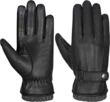 Acdyion Winter Warm Windproof Soft with Thinsulate Fleece Lining Anti-slip Driving Casual Outdoor Dress Gloves Gift Pack for Cold Weather Mens Genuine Leather Touchscreen Texting Gloves