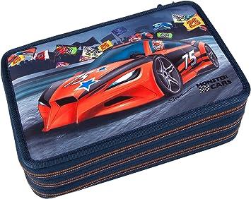Monster Cars 8218 – Estuche Escolar con 3 Compartimentos, Multicolor: Amazon.es: Juguetes y juegos
