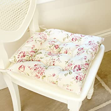 Superb Set Of 2 Summer Rose Vintage Floral Pink U0026 Cream Square Seat Pads With Chair  Ties