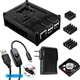 Smraza for Raspberry Pi 3 Case with Fan Cooling and Heatsinks, 5V / 2.5A Power Supply, Micro USB with On/Off Switch Case for Raspberry Pi 3 2 Model B 3B 2B, Black