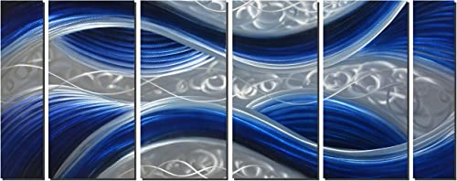 Handcrafted Abstract Metal Wall Art with Soft Color, Large Scale Decor in Huge Blue Line Design, 3D Artwork for Indoor Outdoor Wall Decorations, 6-Panels Metal Art Measure 24 x 65