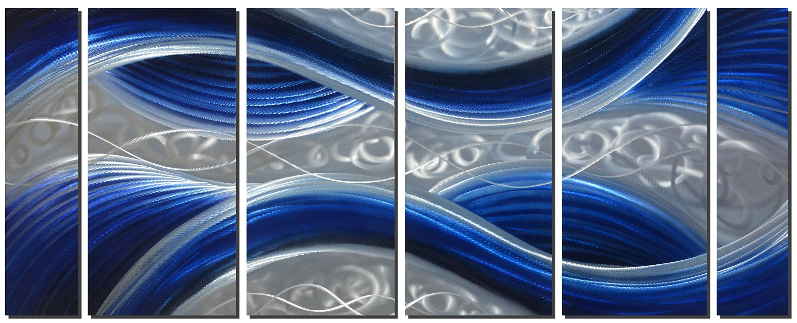 Handcrafted Abstract Metal Wall Art with Soft Color, Large Scale Decor in Huge Blue Line Design, 3D Artwork for Indoor Outdoor Wall Decorations, 6-Panels Metal Art Measure 24''x 65''