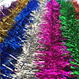 ATOOZ Christmas Tinsel, 7Pcs 6.5 Ft x 4 Inch Wide Garland Tick Shiny Decorations for Christmas Tree Christmas Party