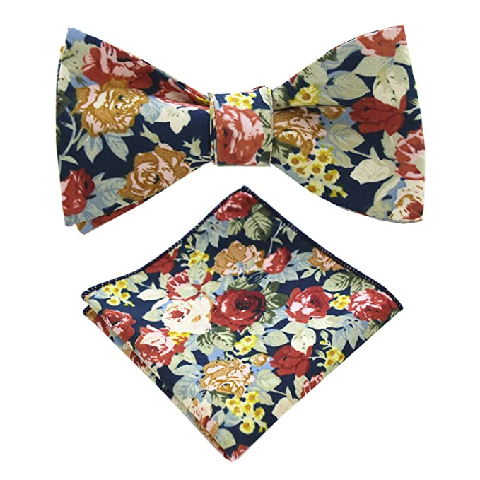 0533737db0d6 JEMYGINS Cotton Floral Self Tie Bow Tie and Pocket Square Set for Men (35):  Amazon.ca: Clothing & Accessories