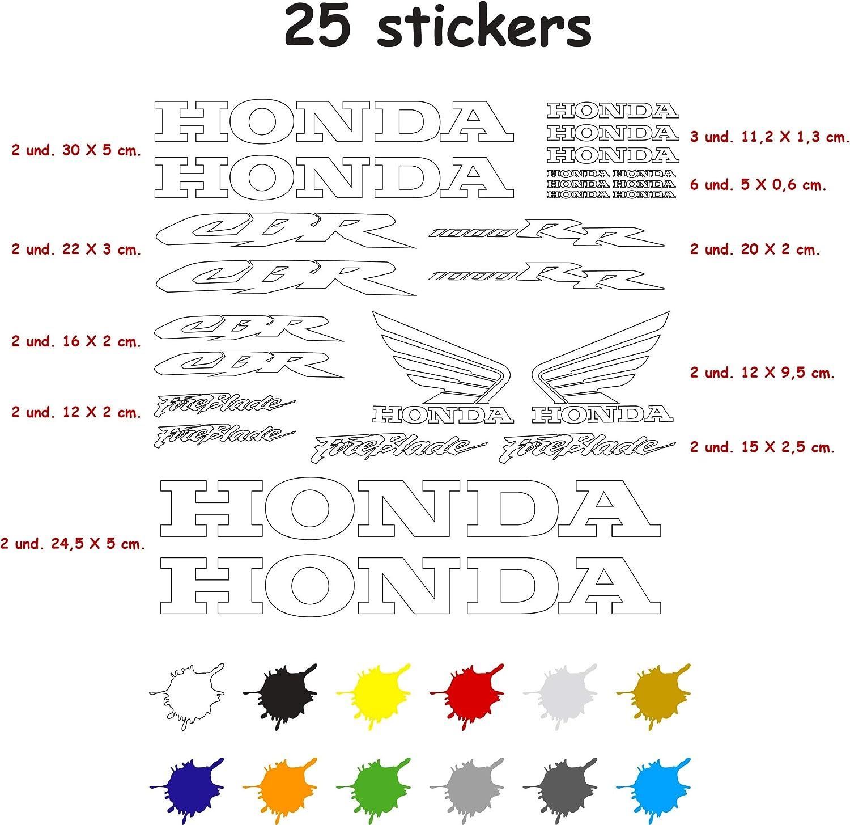 Kit Pegatina Adhesivo Vinilo 7 a/ños Troquelado Compatible con Honda CBR 1000 RR Contiene 25 Pegatinas Blanco