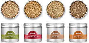 Breville Smoking Gun Pro Hickory, Mesquite, Applewood, and Cherrywood 4 Piece Woodchip Set, Brown