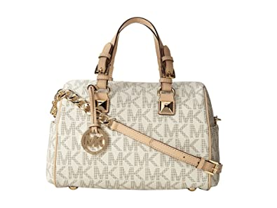 9b951b59e366 Amazon.com: Michael Kors Signature Print Satchel Handbag Bag 30F2GGCS2B  (One Size, Vanilla): Shoes