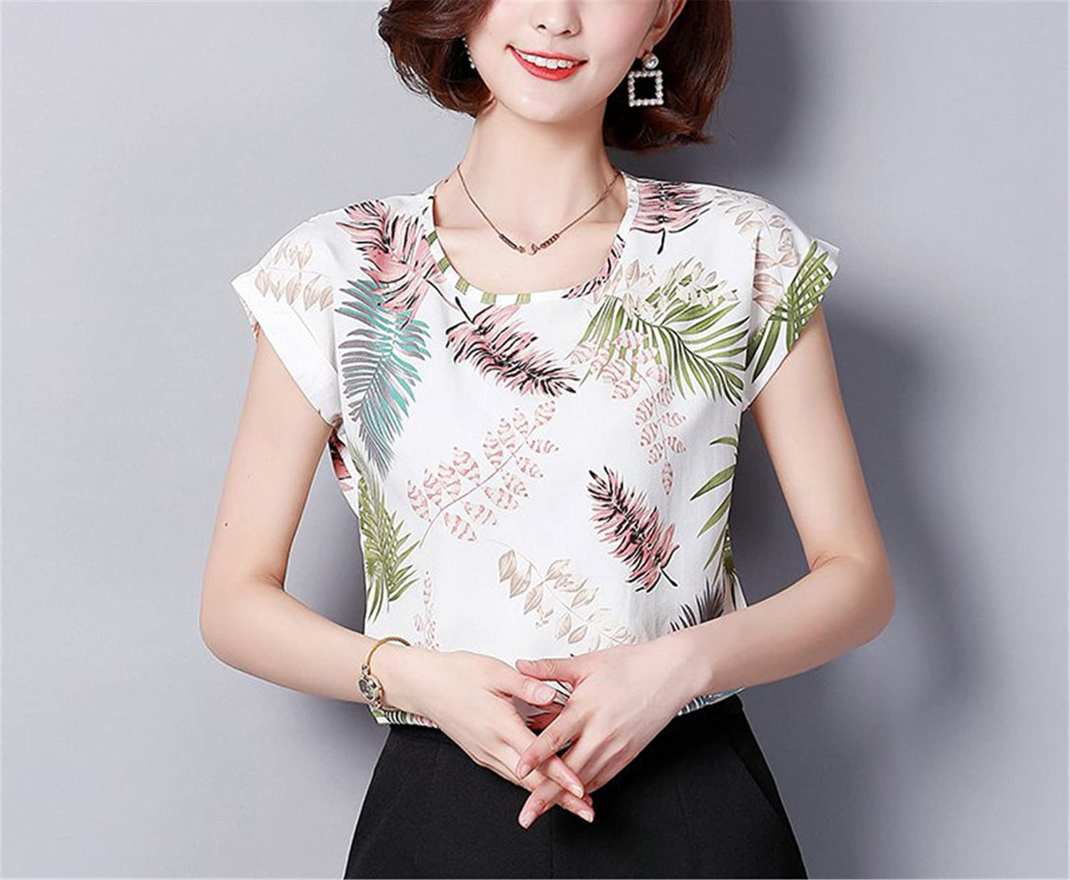 OUXIANGJU Women New Summer Print Chiffon Tops Short Sleeve Patterned Shirts Women Blusas Plus Size at Amazon Womens Clothing store: