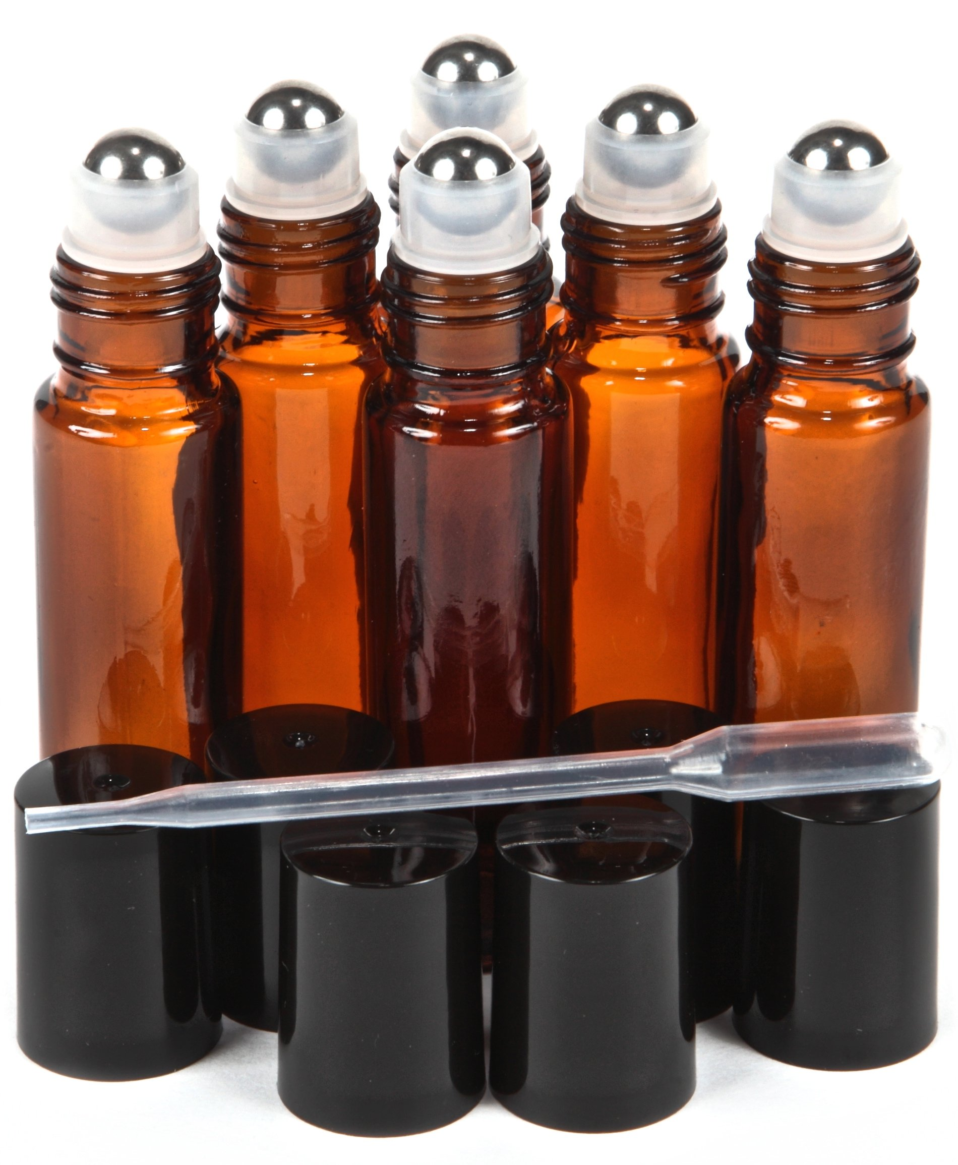 Vivaplex, 6, Amber, 10 ml Glass Roll-on Bottles with Stainless Steel Roller Balls - .5 ml Dropper included