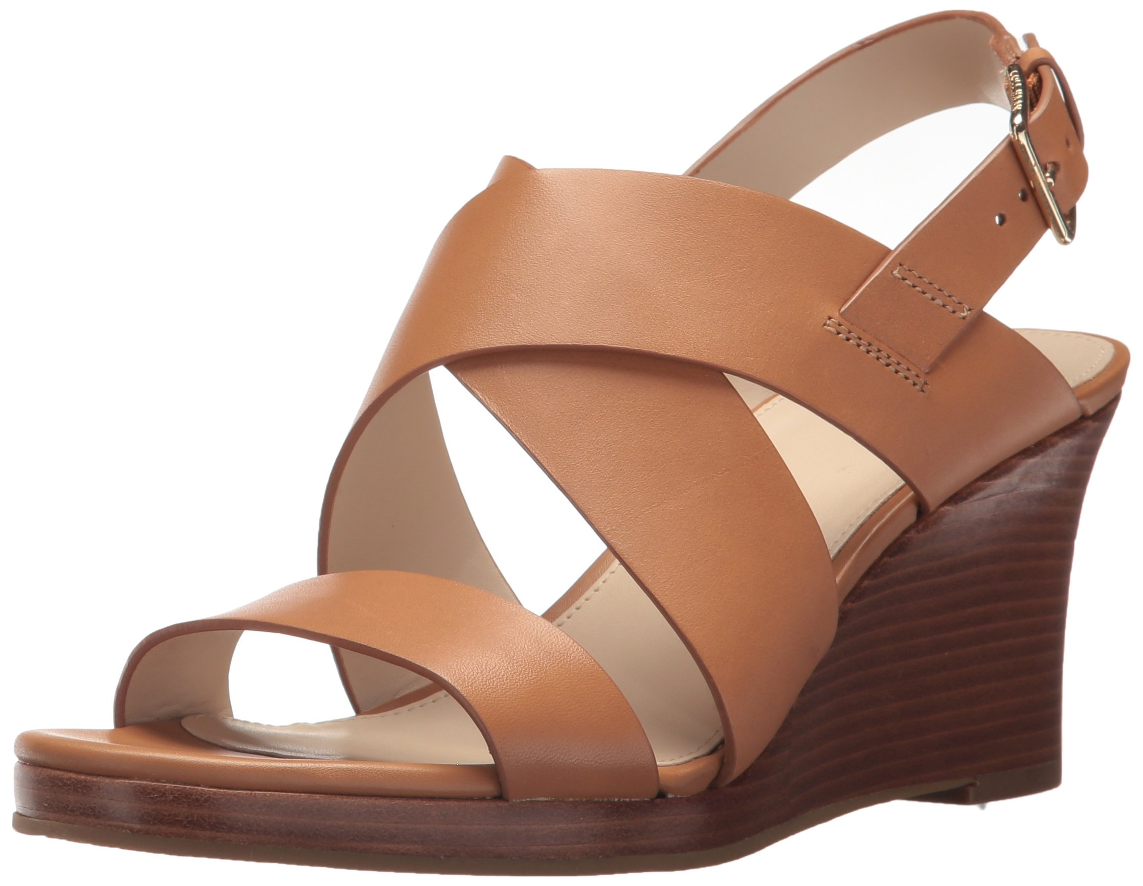 Cole Haan Women's Penelope II Wedge Sandal, Pecan Leather, 7.5 B US