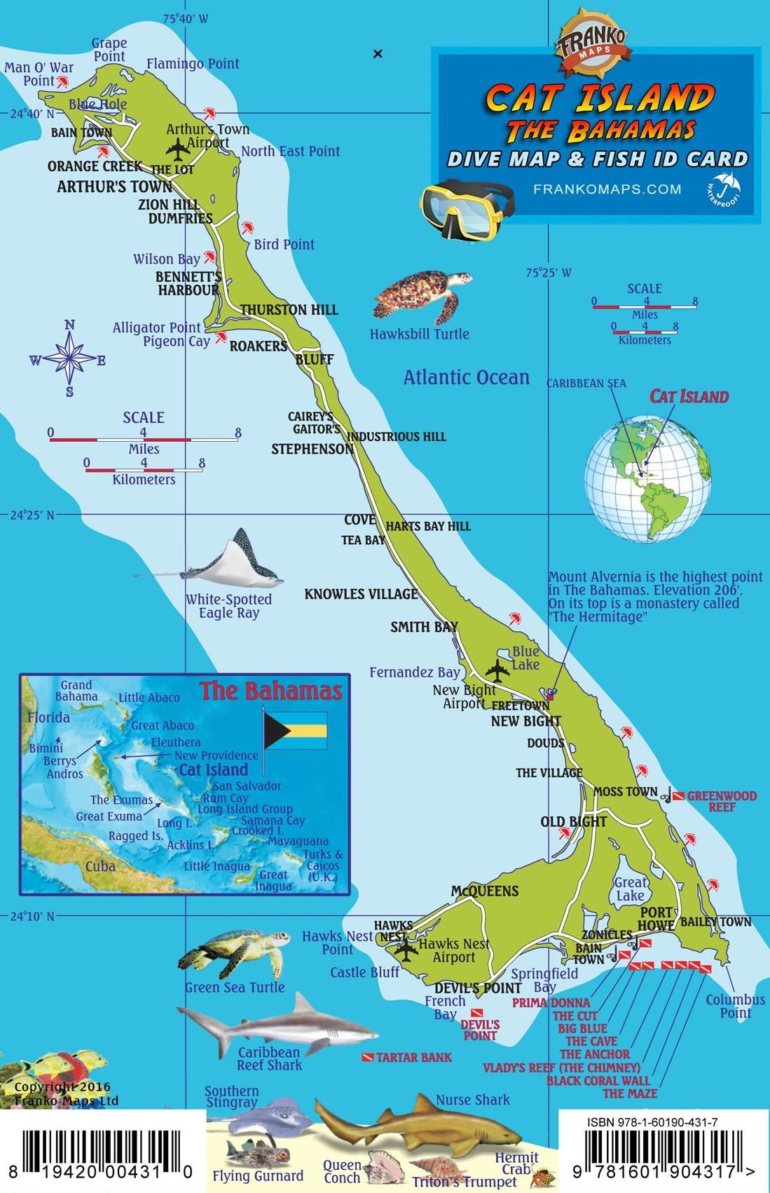 Cat Island Bahamas Dive Map & Reef Creatures Franko Maps Laminated ...
