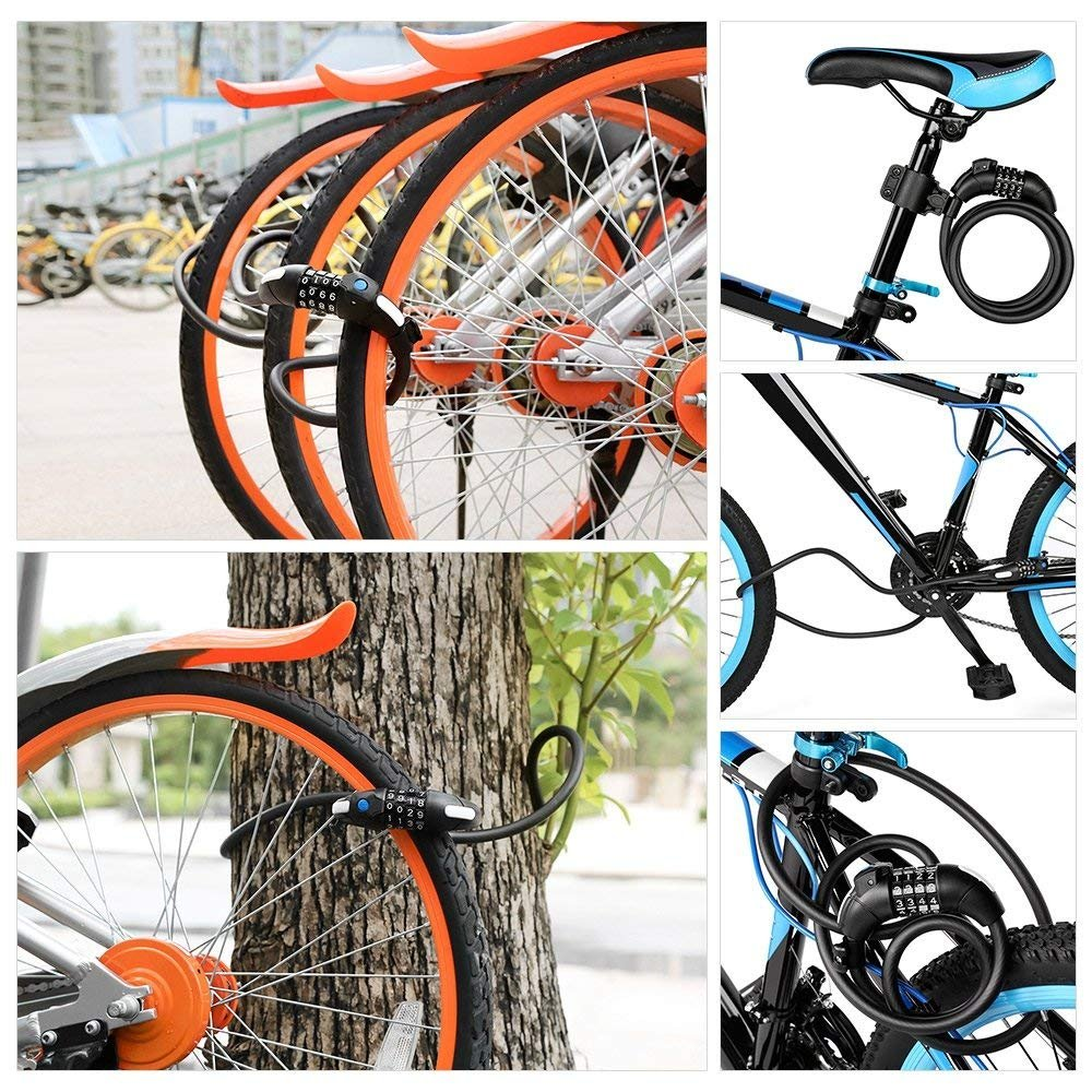 HOMEE Keyless Bike Lock Cable 4-Feet 1//2Inch Heavy Duty Lock Cable Basic Self Coiling Resettable 4-Digit Combination Security Bicycle Chain Locks with LED Light and Mounting Bracket