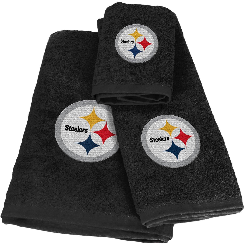NFL Pittsburgh Steelers 20 Piece Bath Ensemble: Set Includes 1 Shower Curtain, 12 Shower Hooks, 2 Bath Towels, 2 Hand Towels, 2 Finger-tip Towels 1 Bath Mat. Northwest