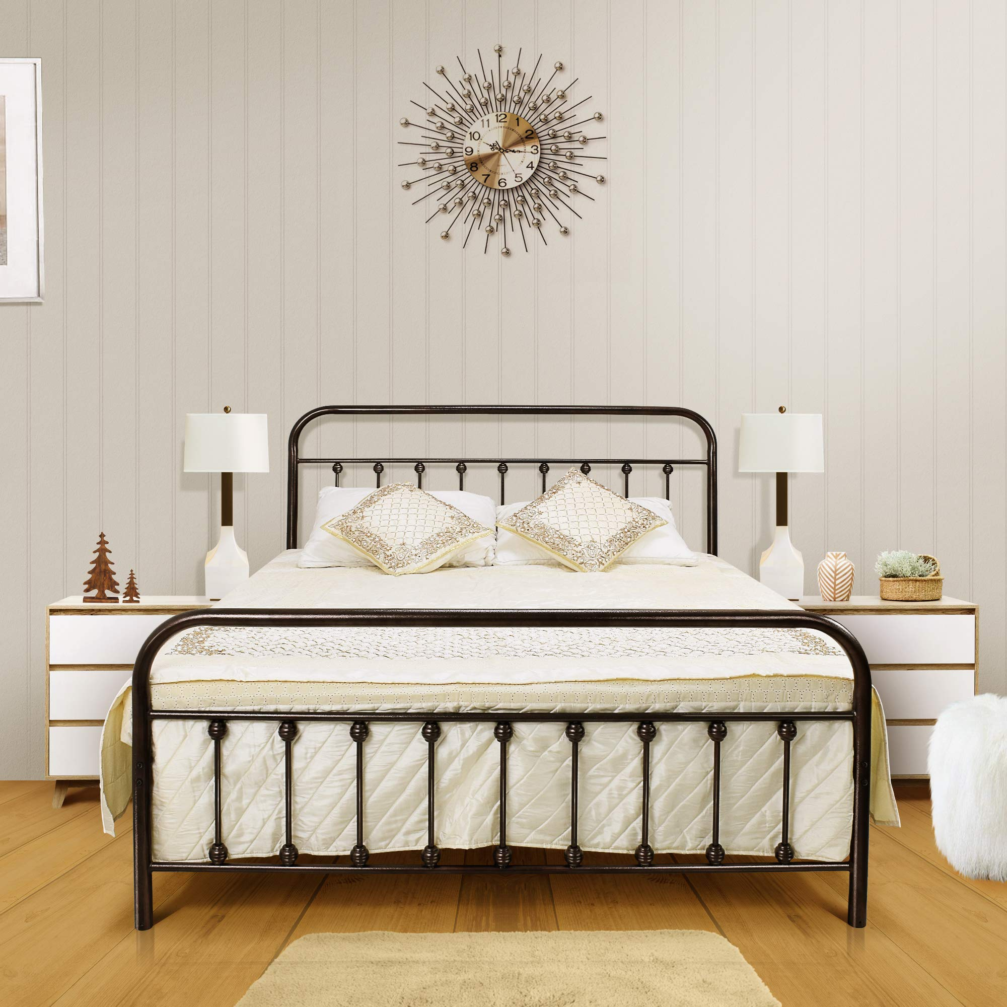 Ambee21 Queen Metal Bed Frame with Headboard and Footboard Set: Vintage Bed Frame, Sturdy Support Mattress Foundation, No Box Spring Required, Under Bed Storage, Steel Slat Support, Easy Assembly