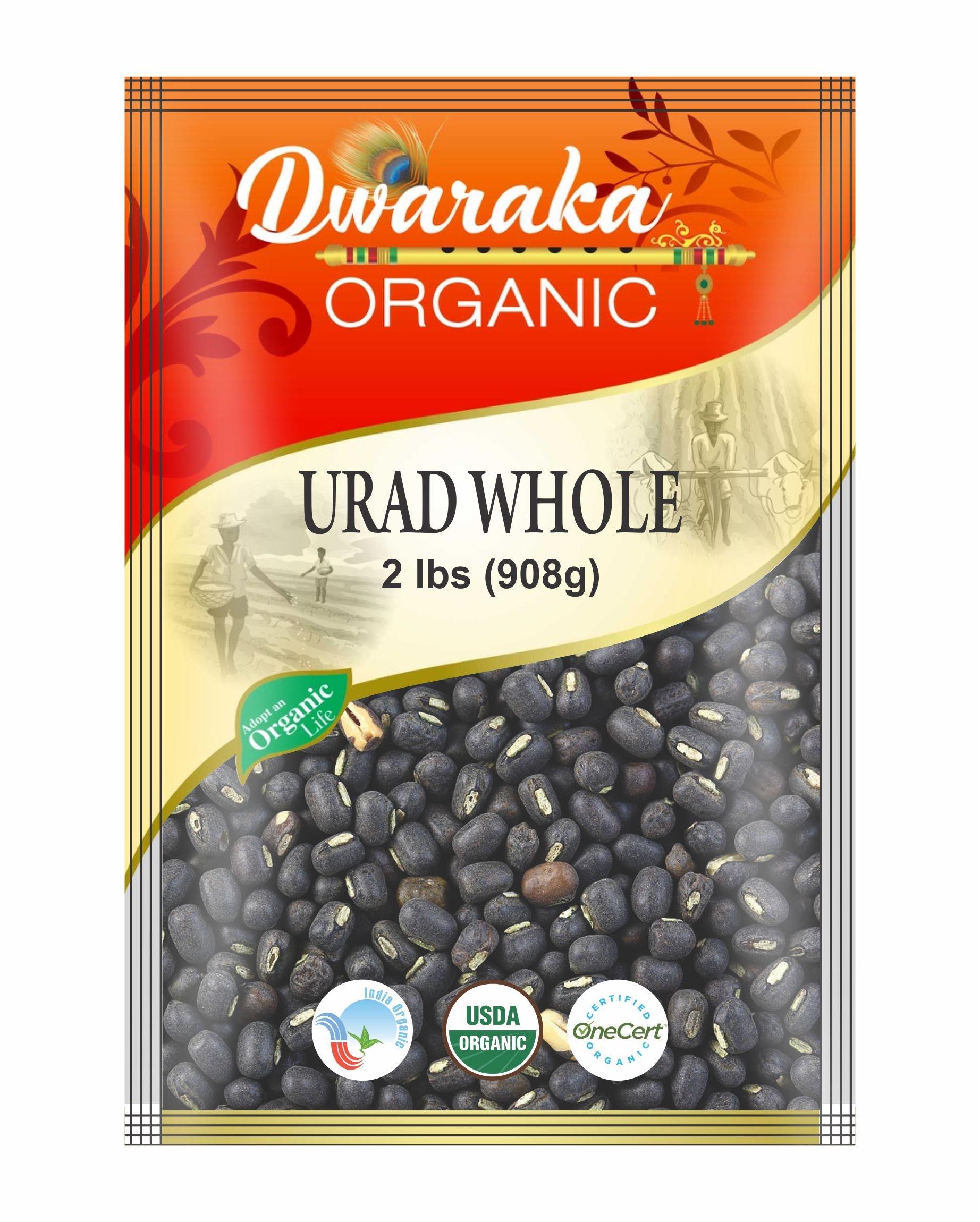 Dwaraka Organic Urad Whole Black Gram Whole Dal Lentil USDA Organic (2 lbs / 908 g)