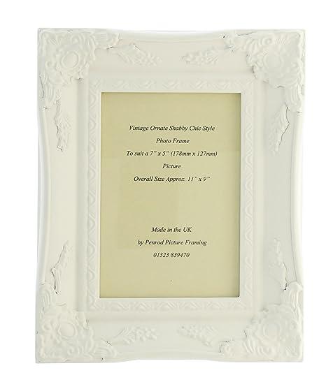 Matt White Shabby Chic Ornate Swept Vintage Picture Frame For a 7\