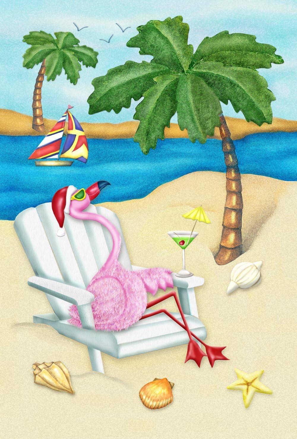 Toland Home Garden Sandy Christmas 28 x 40 Inch Decorative Tropical Beach Holiday Flamingo House Flag