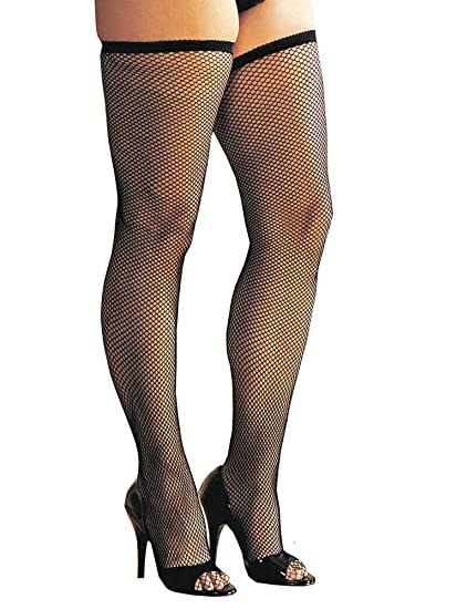 01bac1624 Amazon.com  Plus Size Fishnet Thigh High Stockings  Clothing