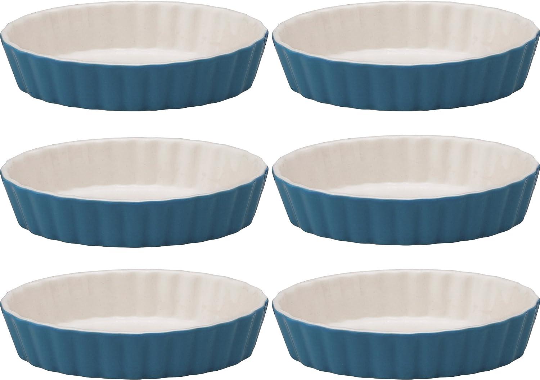 Lifver 5-oz Ceramic Ramekins//Creme Brulee//Dip Bowls Set of 6 White/&Blue