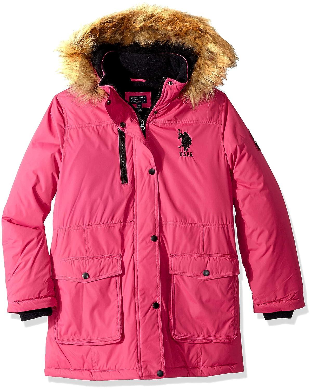 U.S. Polo Assn. Girls' Parka Jacket with Faux Fur Hood, US Polo Association O_UB86H