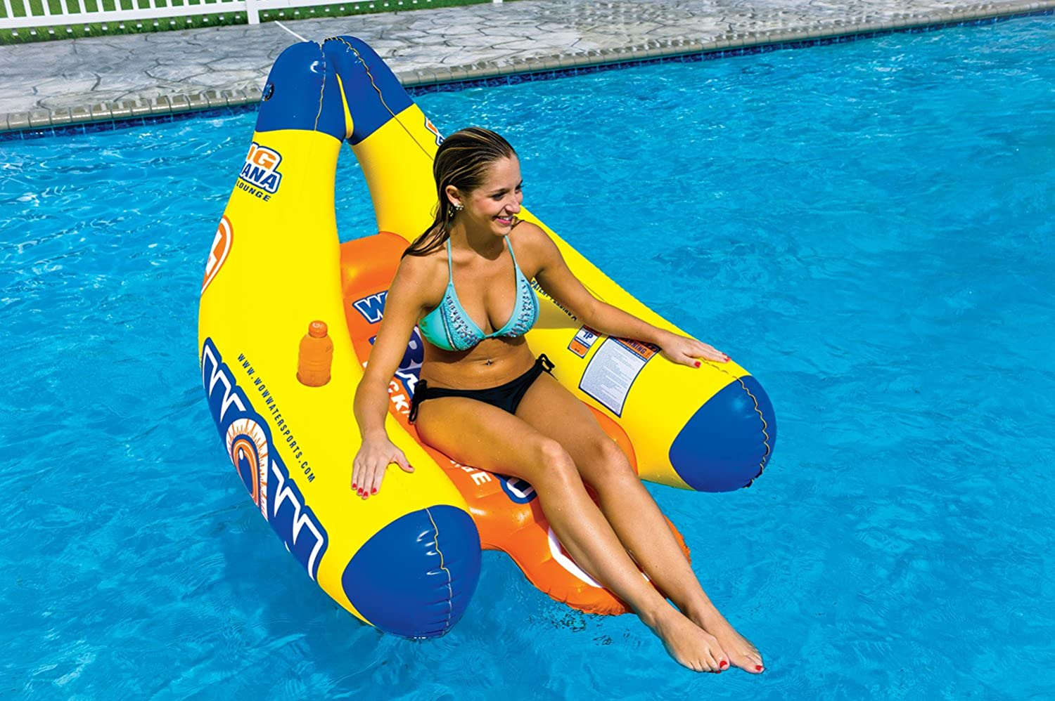 2 Cup Holders WOW Watersports Big Banana Inflatable Lounge 1 Person WOW World of Watersports 13-2020