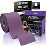 Kinesiology Tape (2 Pack or 1 Pack) Physix Gear Sport, 5cm x 5m Roll Uncut, Best Waterproof Muscle Support Adhesive, Physio Therapeutic Aid, Includes 82pg Step by Step Taping E-Guide