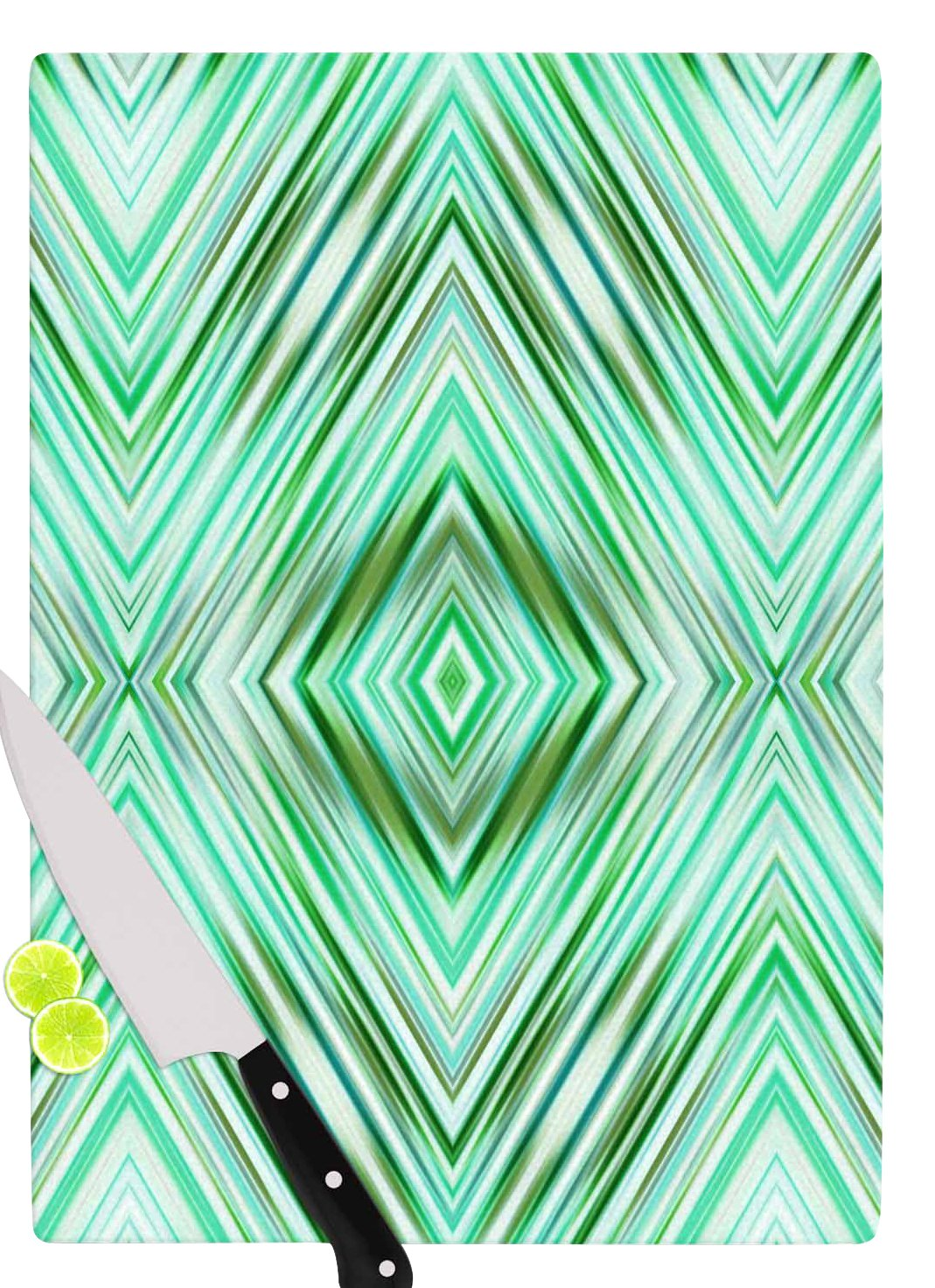 Multi KESS InHouse DR1041ACB01 Dawid RocGreen Mint Modern Ethnic Green Geometric Cutting Board 11.5 x 8.25
