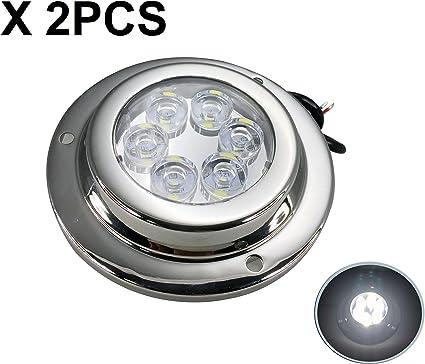 w// 316 Stainless Steel Cover Navigation Light RecPro 3.5 White LED Underwater Pontoon Boat Transom Light Blue, 2