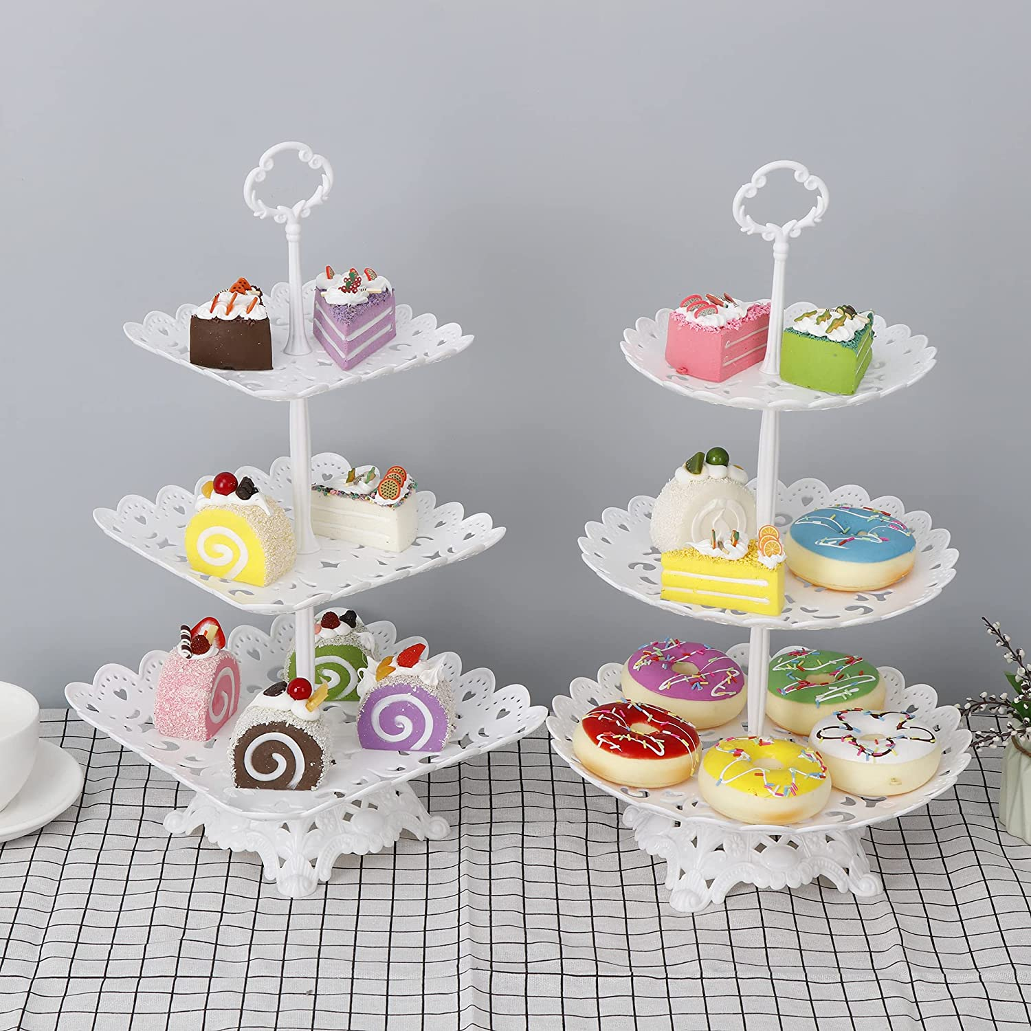 Set of 2 White 3-Tier Cupcake Dessert Stand with Base, Fruits Desserts Candy Sweets Buffet Display Plate Decor Serving Platter for Tea Party Wedding Birthday Baby Shower Celebration Home Decoration