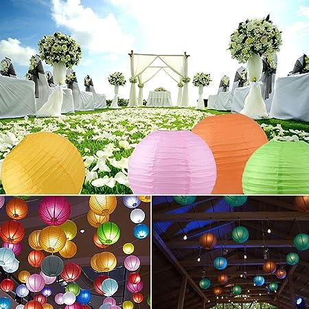 feste matrimoni 12 lanterne di carta rotonde colorate con luci LED extra calde da 30,5 cm bomboniere lanterne di carta multicolore per Natale Warooma Capodanno