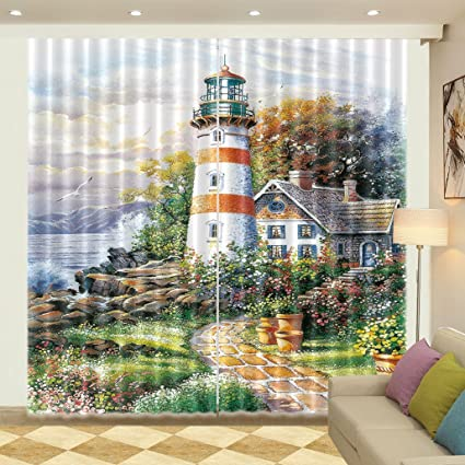 Seaside Lighthouse Window Curtains Mural 3D Printing Blockout Drapes Fabric New