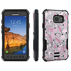 Galaxy Active S7 [AT&T] Tough Case [Skinguardz] [Black/Black] ShockProof Armor [Kick Stand] - [Pink Autuum Love] for Samsung Galaxy [S7 Active]